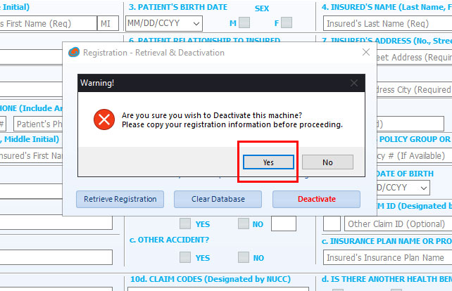 Deactivate Registration for HCFA-1500 dialog box 2