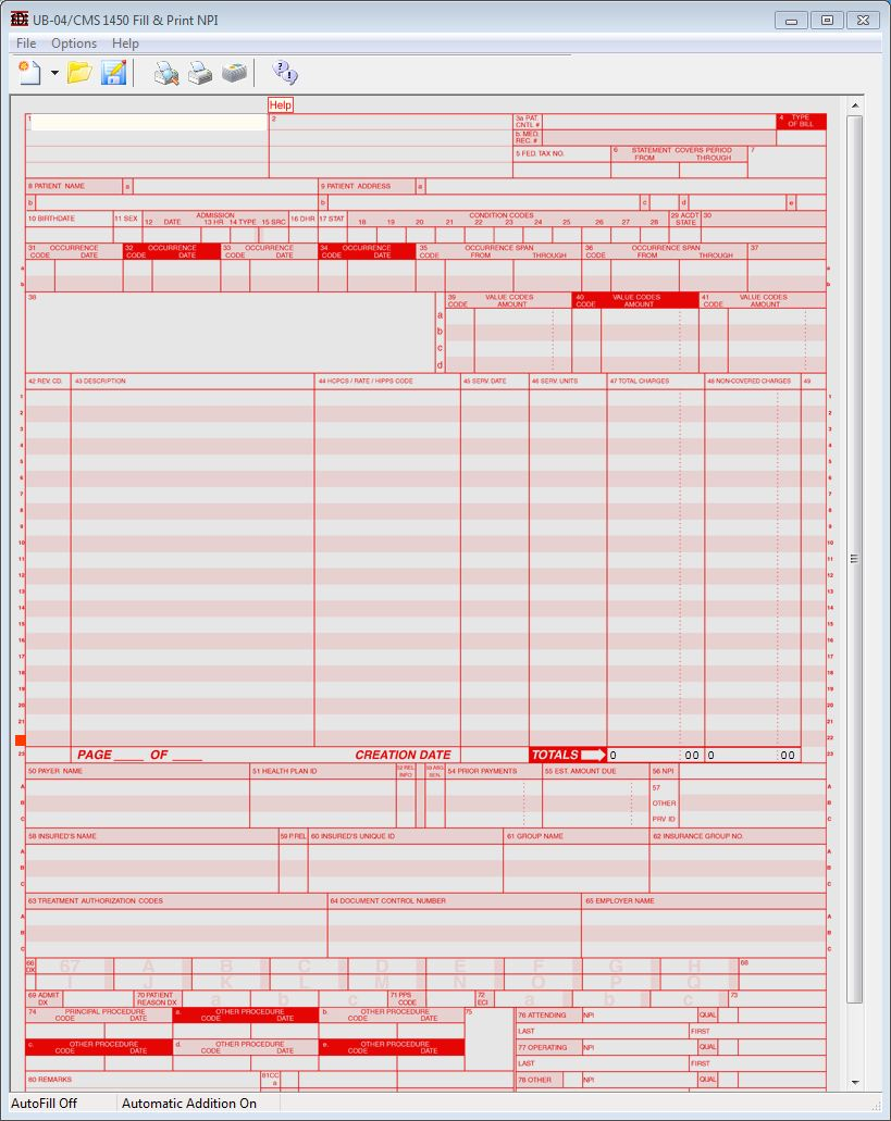 UB-04 Fill & Print Software